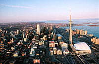 Aerial of downtown Toronto and lake. Ontario. Canada (2006)