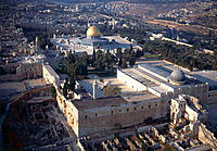 Aerial view of wailing wall and Dome of the rocks (Omar Mosque) at back. Jerusalem. Israel