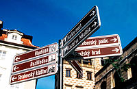 Signpost to monuments in the Castle area of Prague, Czech Republic
