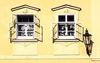 Windows in the old town (Mala Strana), Prague. Czech Republic