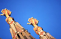 Detail of bell towers of the Sagrada Familia (Church of the Holy Family), by Gaudí. Barcelona. Spain