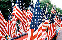 a group of United States flag on display at a parade