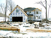 New home construction during winter. Michigan, USA