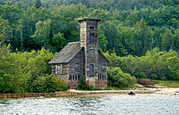 The Old Wood Lighthouse at Pictured Rocks National Lakeshore at Munising Michigan Upper Peninsula on Lake Superior. USA