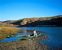 Canoe resting at mile 81, Upper Missouri River, Montna, USA