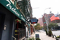 Awning and neon sign for the Tribeca Tavern. New York City. New York. United States