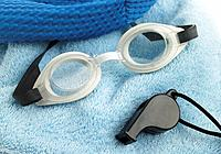 Goggles, Bathing Cap, Whistle and Towel