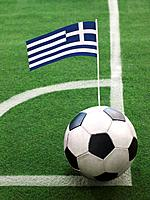 Greek Flag on Top of Soccer Ball