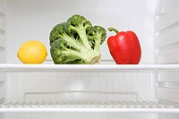 Vegetables in a fridge
