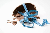 Smashed easter egg and tape measure
