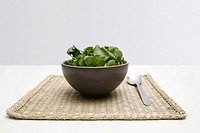 Spinach and watercress in a bowl