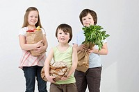 Children with groceries