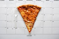 A pizza and calendar