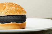 A tyre in a burger