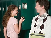Girl and boy by lockers