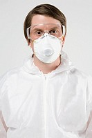 Man in protective clothing