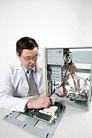 Scientist with computer