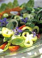 Greek salad with borage, tomatoes ans basil (thumbnail)