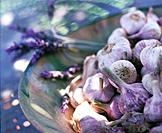 Garlic and lavender in a bowl