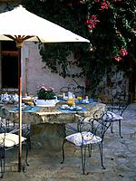 Table on mediterranean terrace