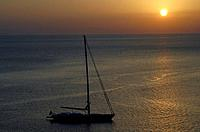 Sailship in sunset