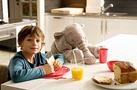 Portrait of a boy having breakfast in the kitchen