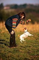 girl and Jack Russell Terrier _ playing