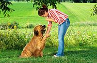 young woman with Briard _ giving paw