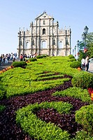 Tourists at church, St. Paul´s Church, Macau, Guangdong Province, China