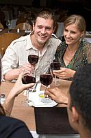 Smiling friends toasting glasses of wine