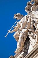 Low angle view of statue, Trevi Fountain, Piazza di Trevi, Rome, Lazio, Italy