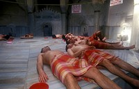 People lying in Turkish Bath, Istanbul, Turkey
