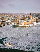 Aerial view of city, Gamla Stan, Riddarholmen, Sweden