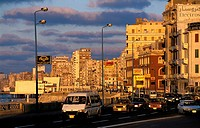 Traffic on road in city, Alexandria, Egypt