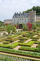 Formal garden in front of castle, Chateau De Villandry, Indre_Et_Loire, France