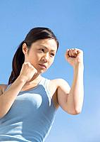 Woman doing boxing exercise