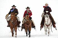 Wranglers out for a winter ride, Shell, Wyoming, Usa