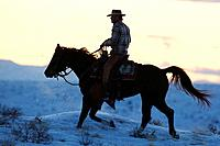 A cowboy riding across the mountain ridge at sunset, Shell, Wyoming. Usa