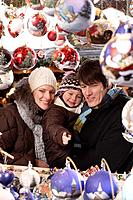 Christmas market, family, market stall, decoration article, look,