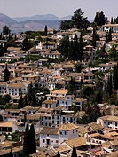 View from the Alhambra to Albaicin, Granada, Andalucia, Spain
