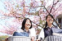 Two female high school students 17_18 and cherry tree