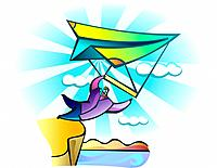 Businessman soaring on hang glider