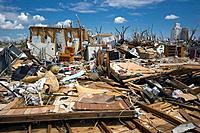 Tornado aftermath. Remains of houses annihilated by a category EF_5 life threatening tornado that hit Greensburg, Kansas, USA, on 4th May 2007. Photog...