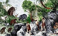 Prehistoric humans and mammals, historical artwork. The mammals at upper left are a woolly mammoth, a large deer and a woolly rhinoceros. At lower lef...