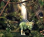 Styracosaurus dinosaur in a forest clearing, artwork. This beaked herbivore lived in North America and Asia during the late Cretaceous period, 76_73 m...