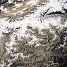 K2 mountain, Space Shuttle image. K2 is the second highest mountain in the world, reaching a height of 8611 metres above sea level. It sits in the Kar...