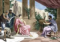 Pliny the Elder 23_79 AD, Roman naturalist and author at right, shown with the Roman Emperor Vespasian 9_79 AD, seated at left. Pliny wrote the 37_vol...