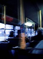 Agoraphobia, conceptual image. People sitting on a bus, from the perspective of a person experiencing agoraphobia. Agoraphobia is an anxiety disorder ...