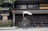 Japan, Gifu, Takayama City, rickshaw in street