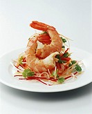 King prawn salad, close_up